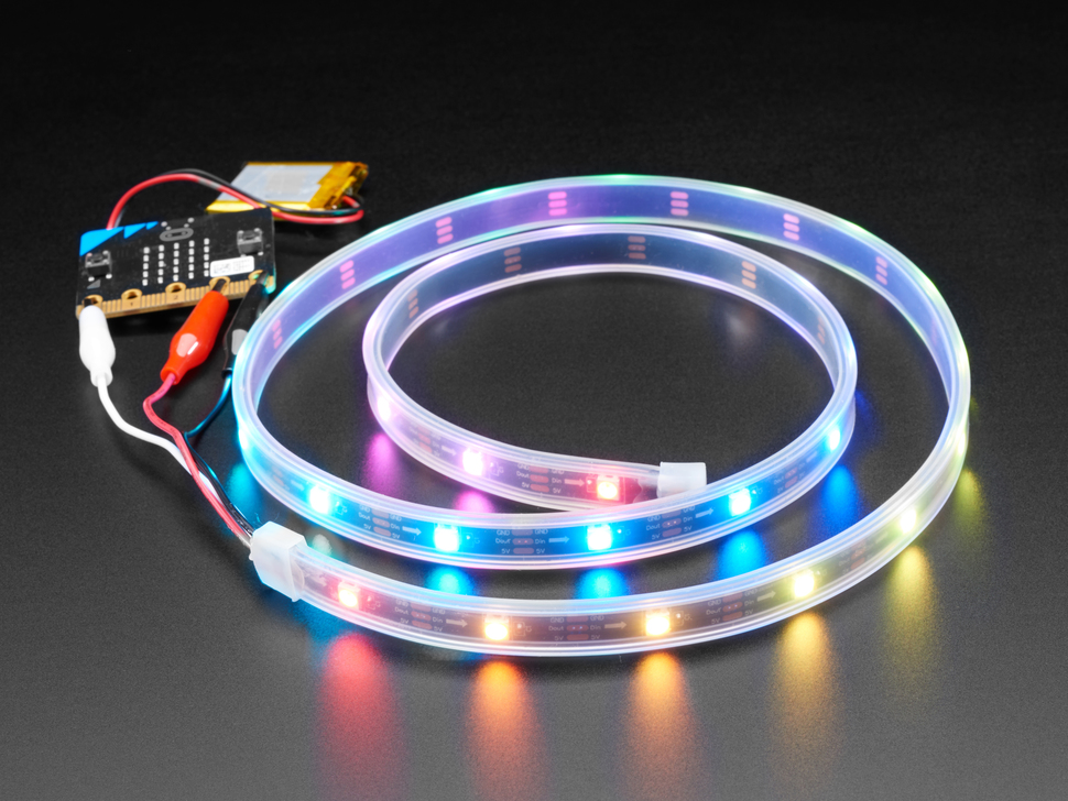 Adafruit NeoPixel LED Strip w/ Alligator Clips - 30 LEDs/meter - 1 Meter - BLACK