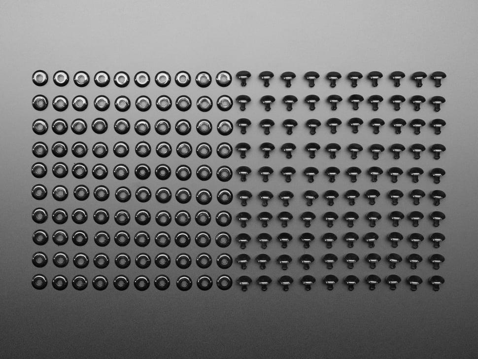 Huge grid of Plastic Pop Rivets for Cardboard Crafts