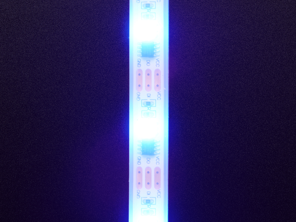 Detail of top of lit LED strip
