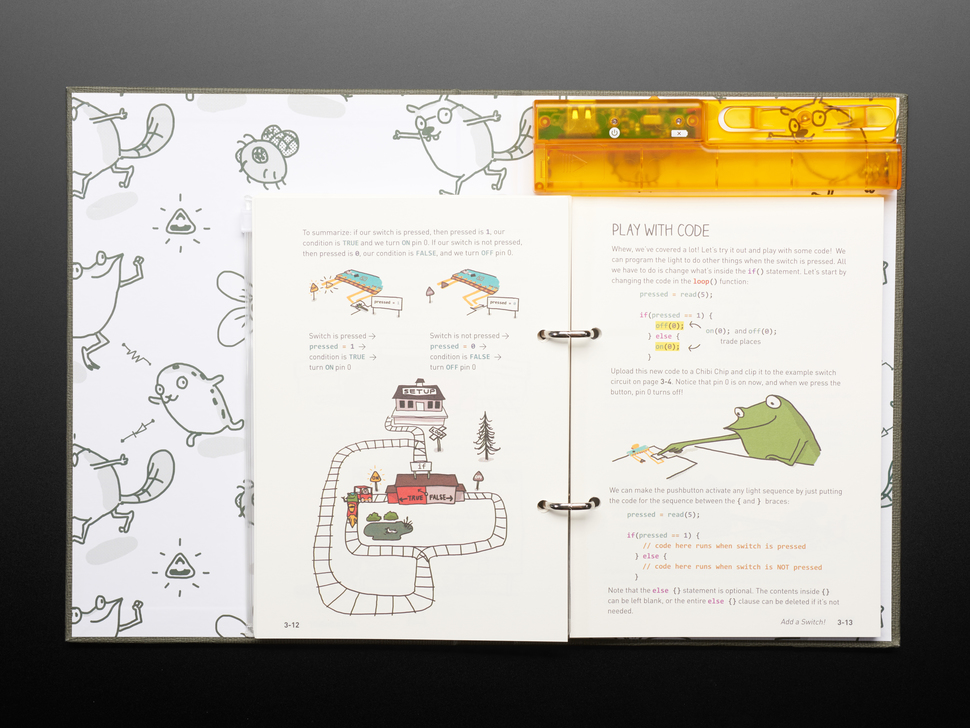Open kids' technical book with friendly woodland creatures teaching about obstacle avoidance.