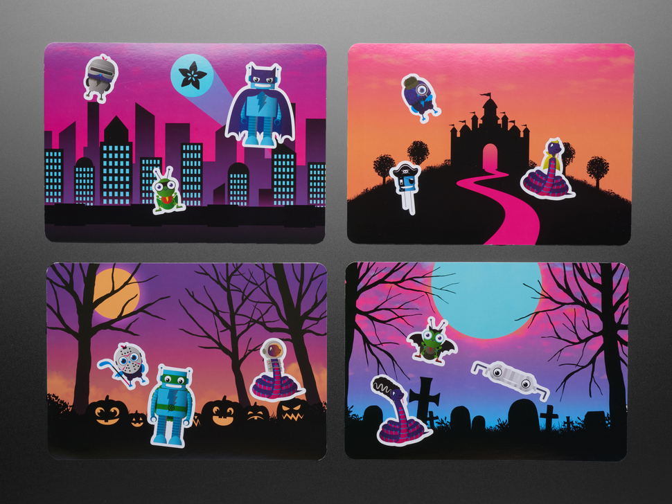 The view shows the stickers on a halloween card background