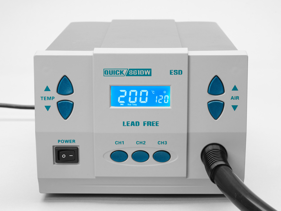 Front of hot air tool showing wand and air / temperature adjustments and LCD display