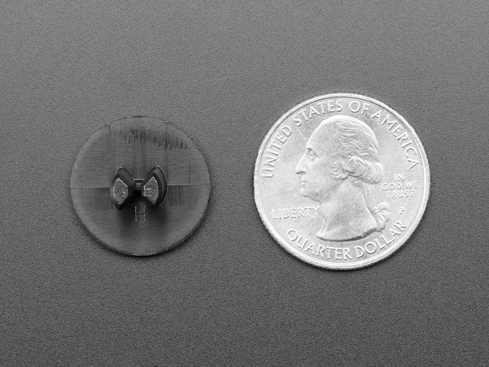 Detail of one half rivet next to quarter