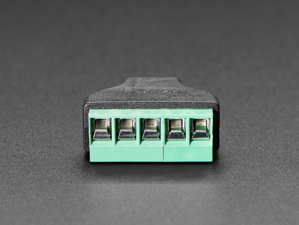 Close-up of terminal blocks on USB Mini B Female Socket to 5-pin Terminal Block.