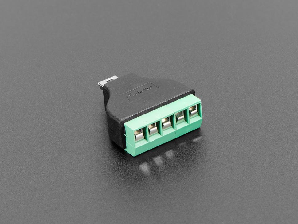USB Mini B Male Plug to 5-pin Terminal Block