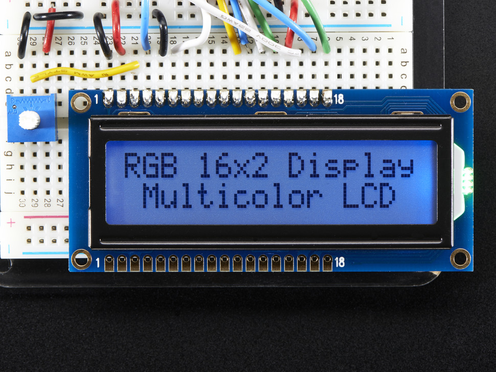 RGB backlight positive LCD 16x2 + extras - black on RGB
