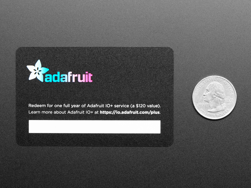 Adafruit IO+ 1 Year Subscription Card
