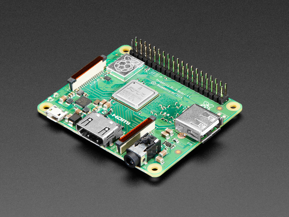Angled shot of Raspberry Pi Model 3 A+