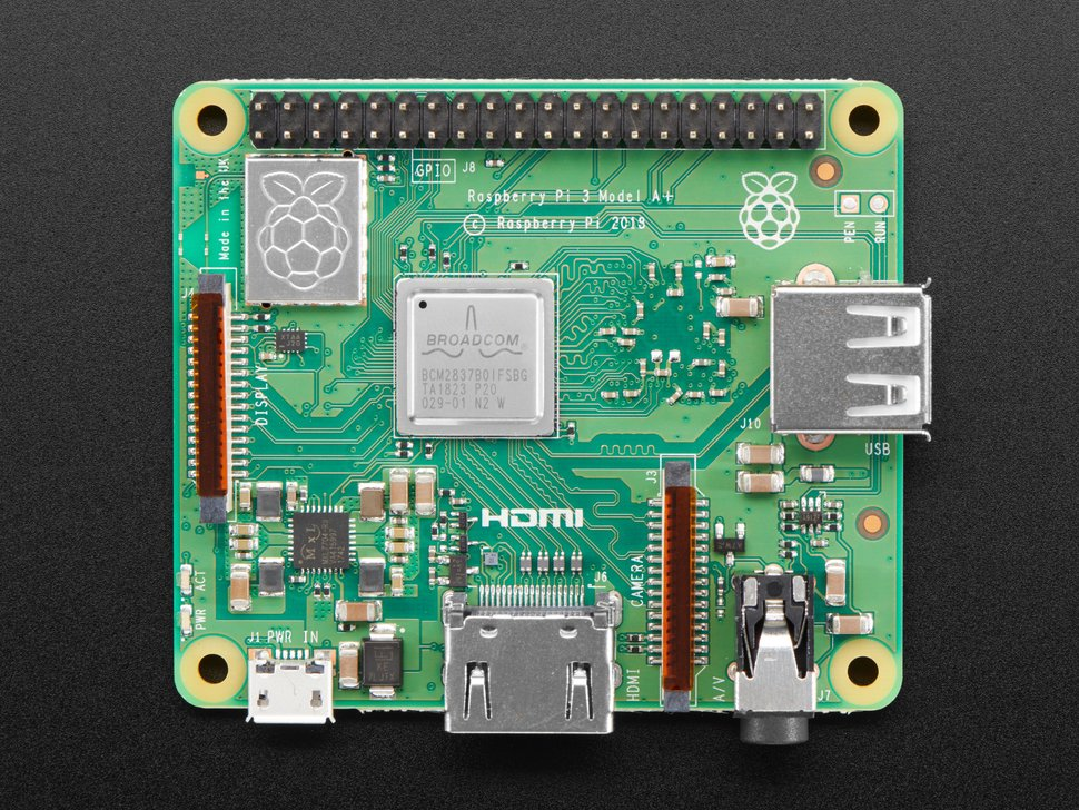 Top down of Raspberry Pi Model 3 A+