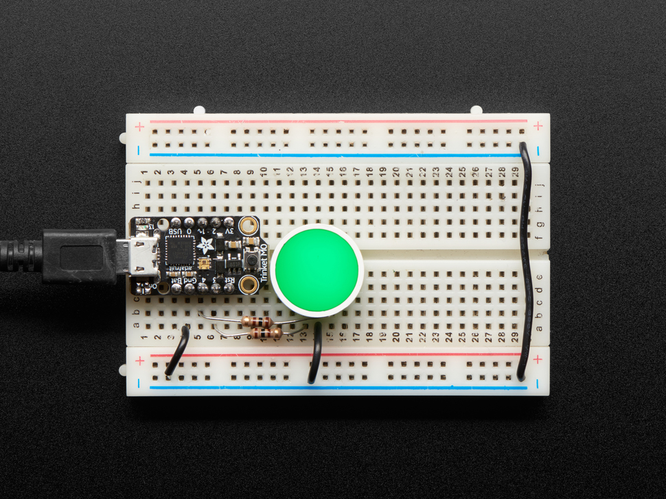 Indicator LED wired to Arduino on breadboard and lit green
