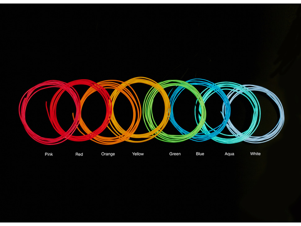 Composite shot of many lit EL wire coils in different colors to compare colors.