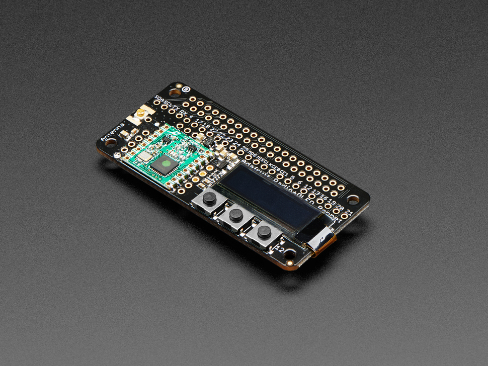 Adafruit RFM69HCW Transceiver Radio Bonnet - 868 or 915 MHz - RadioFruit