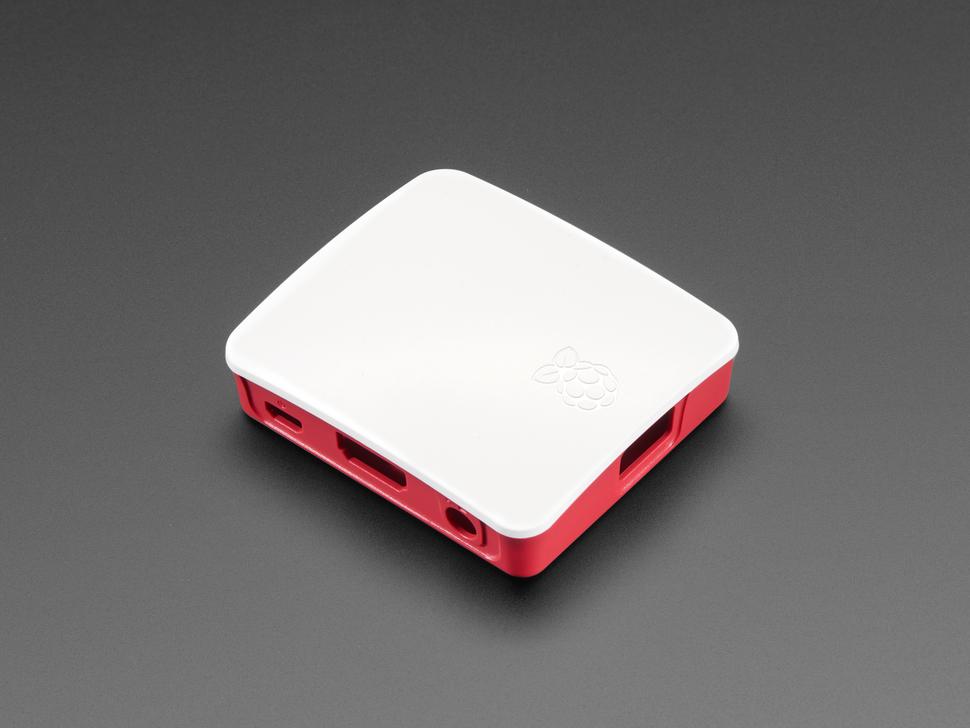 Angled shot of assembled Raspberry Pi Model 3 A+ case.