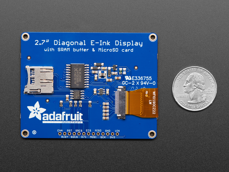 "Adafruit 2.7"" Tri-Color eInk / ePaper Display with SRAM - Red Black White"