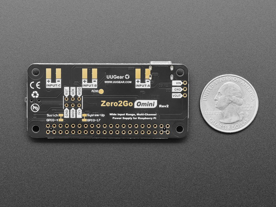 Back side of the Zero2Go Omini – Multi-Channel Power Supply for Raspberry Pi measured by a US quarter