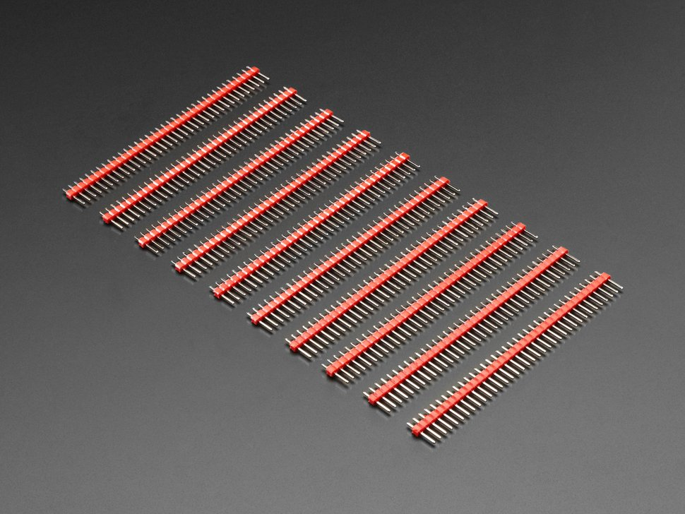 "Break-away 0.1"" 36-pin strip male header - Red - 10 pack"