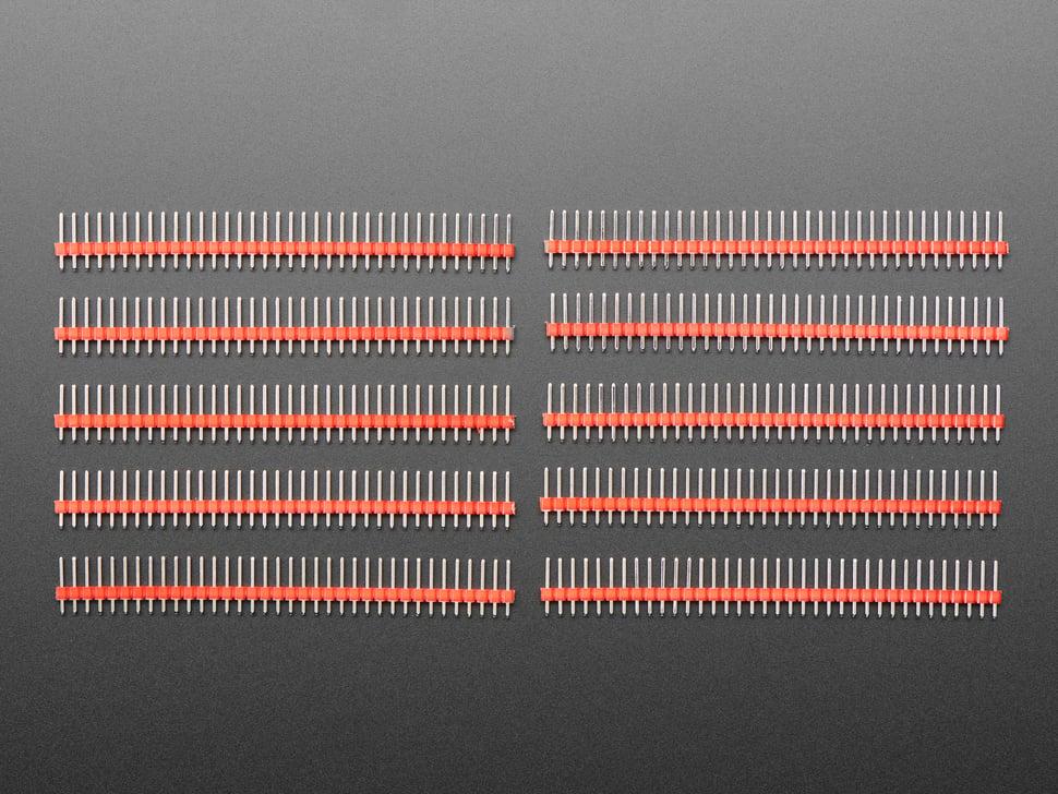 Break-away 0.1 inch 36-pin strip male header - Red plastic
