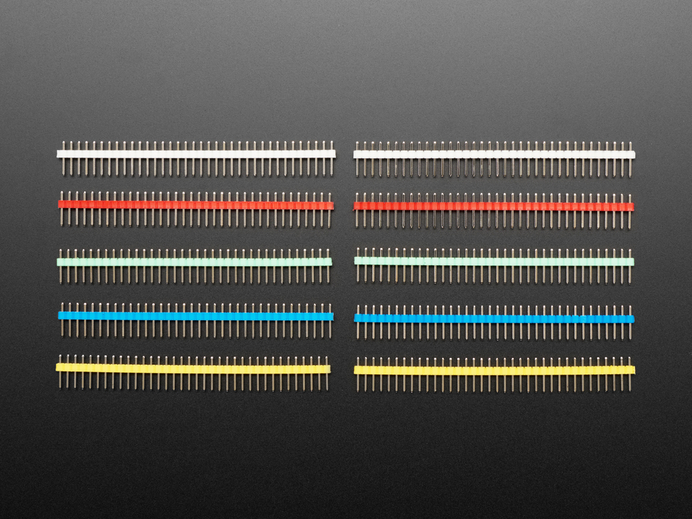 "Break-away 0.1"" 36-pin strip male header - Rainbow Combo 10 Pack"