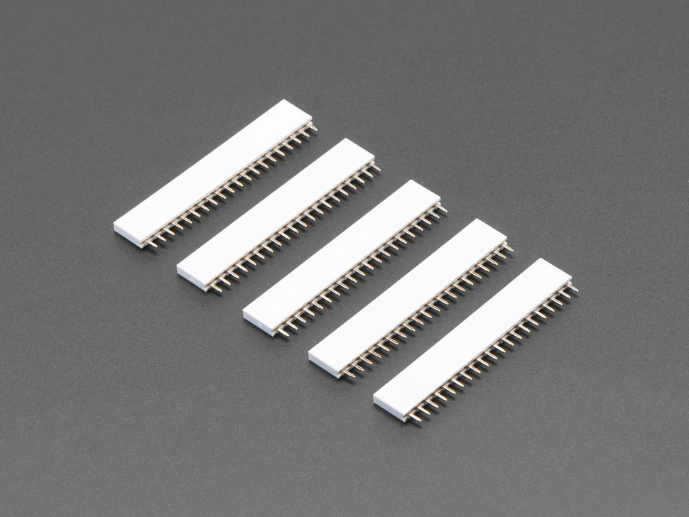 Five pack of 20-pin 0.1 Female Header - White plastic
