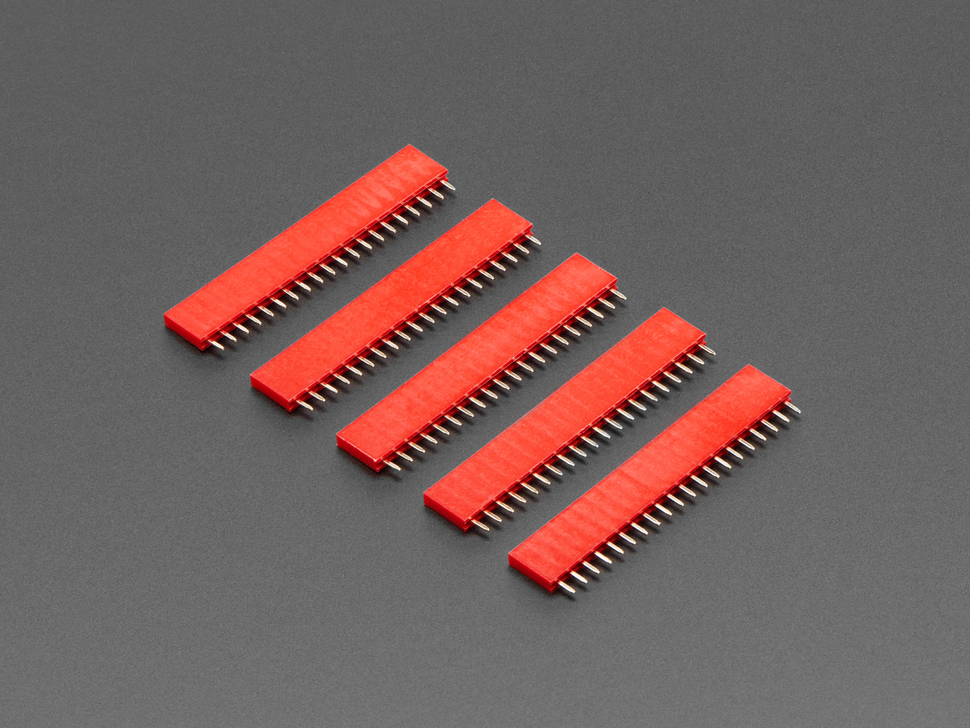 "20-pin 0.1"" Female Header - Red - 5 pack"