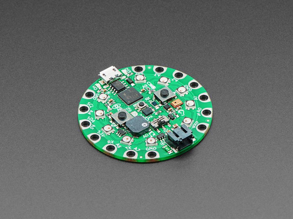 Angled shot of a green dev board.