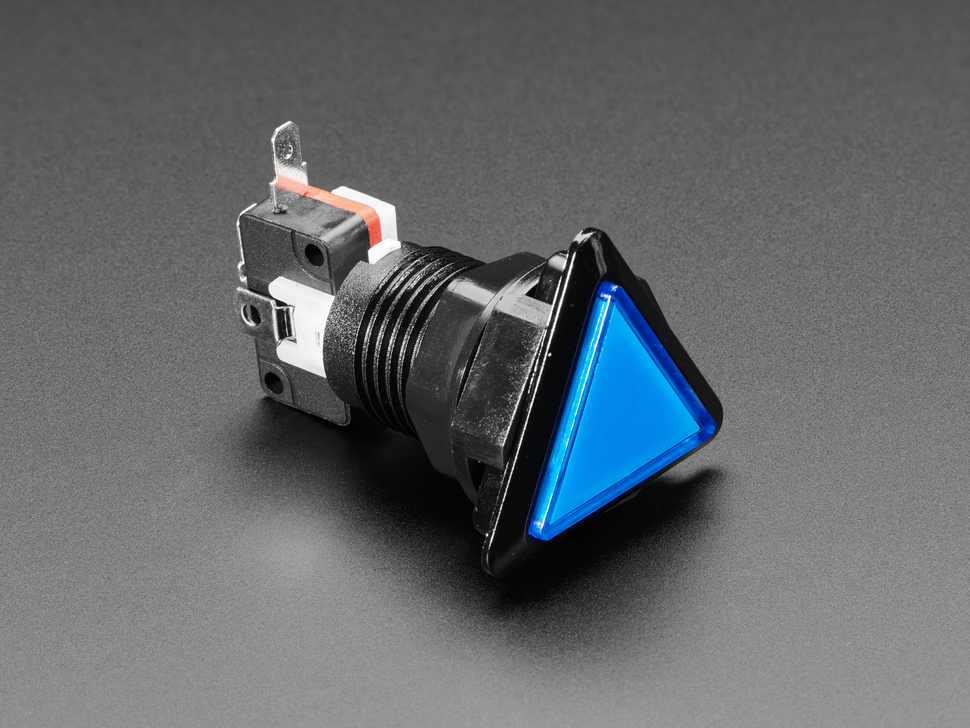 LED Illuminated Triangle Pushbutton A.K.A 1960s Sci-Fi Buttons - Blue