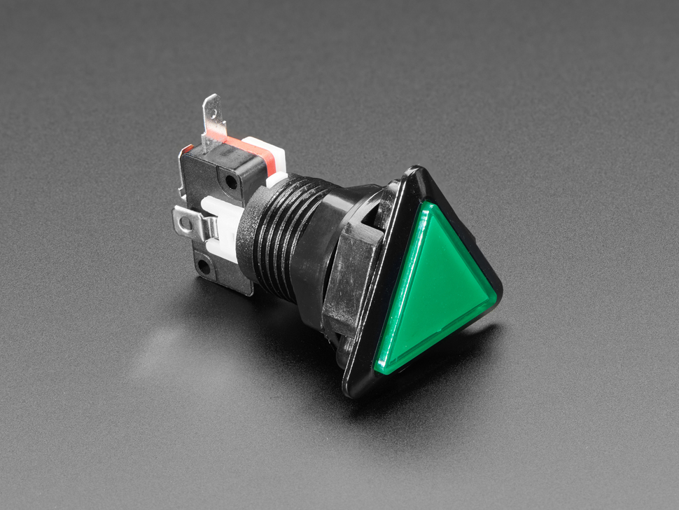 Angled shot of a green triangle  pushbutton.
