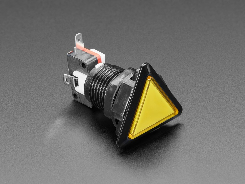 LED Illuminated Triangle Pushbutton A.K.A 1960s Sci-Fi Buttons - Yellow