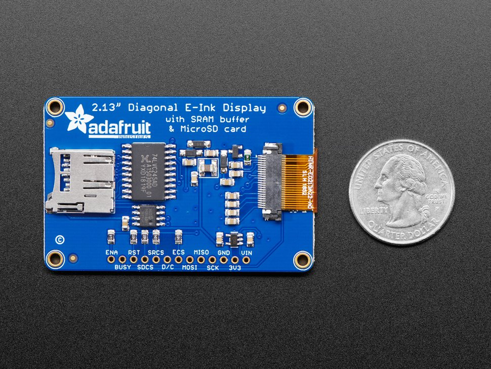 "Adafruit 2.13"" Monochrome eInk / ePaper Display with SRAM - 250x122 Monochrome"
