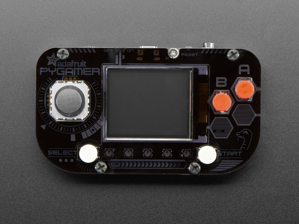 Assembled DIY handheld gamer console with acrylic enclosure, joystick, and buttons.