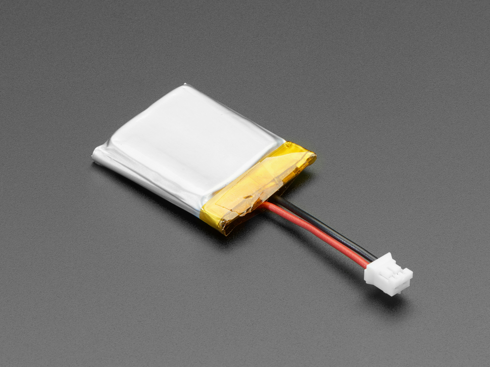 Lithium Ion Polymer Battery 3.7v 350mAh with JST 2-PH connector and short cable