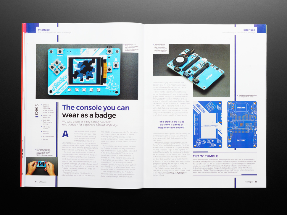 Open magazine spread featuring Adafruit PyBadge, the console you can wear as a badge.