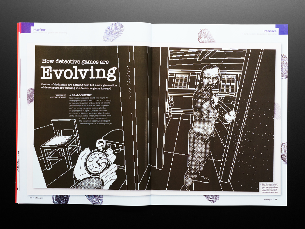 Open magazine spread featuring article on how detective games are evolving.