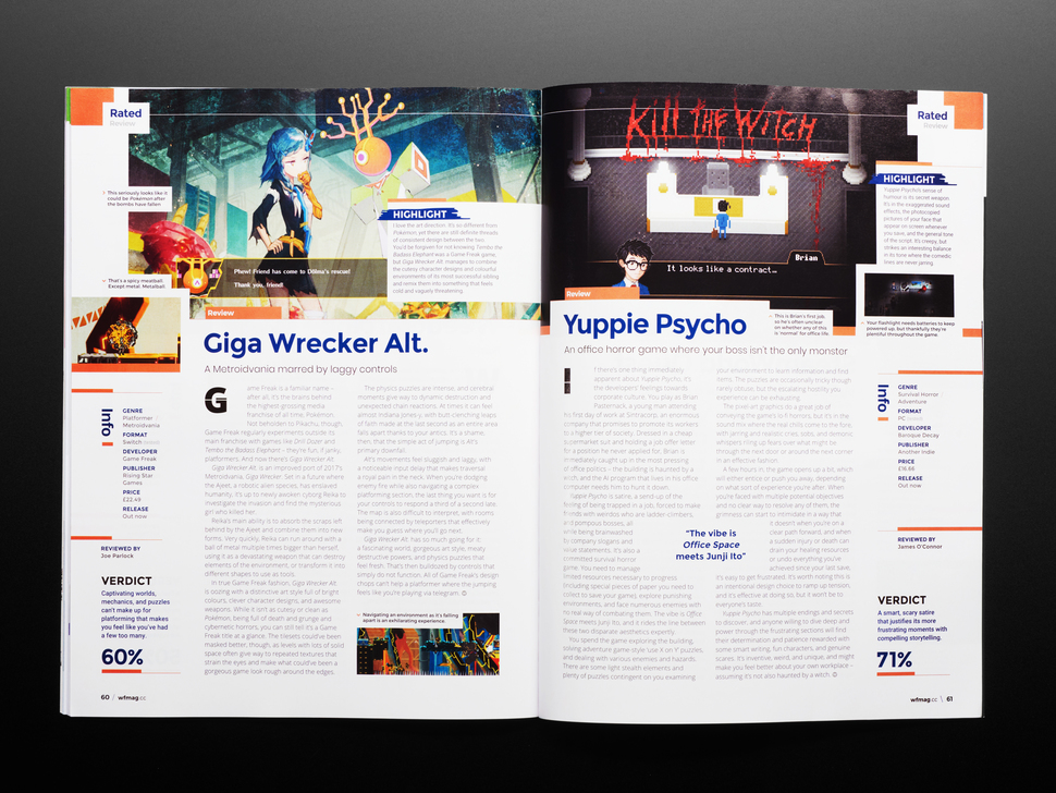 Open magazine spread featuring reviews on video games, Giga Wrecker Alt. and Yuppie Psycho.