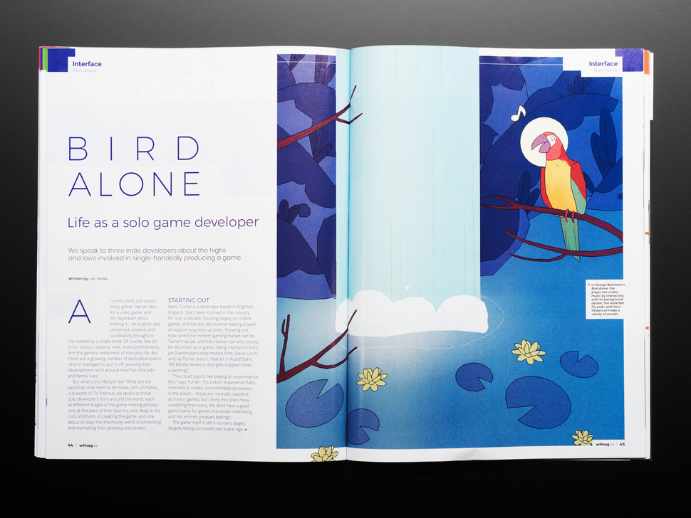 Open magazine spread featuring article on Bird Alone, life as a solo game designer.