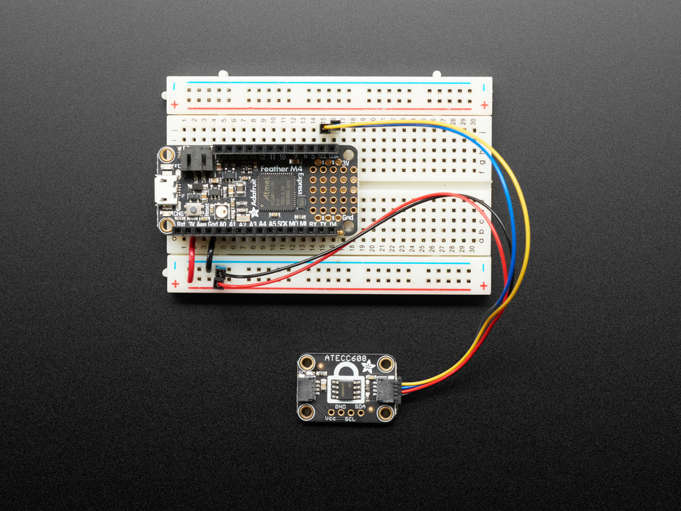Adafruit ATECC608 connected with QT cable to a Feather on breadboard