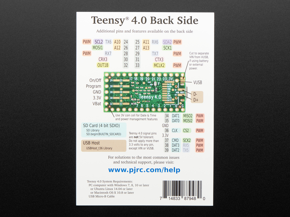 PJRC Teensy 4.0 USB Development Board