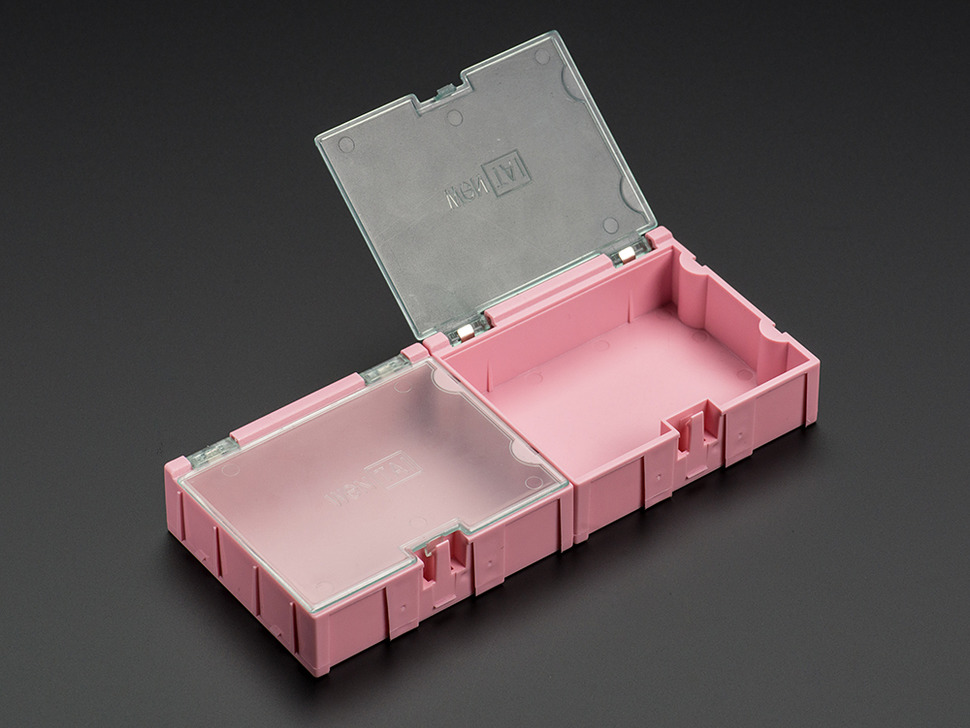 Medium Modular Snap Boxes - SMD component storage - 2 pack - Pink