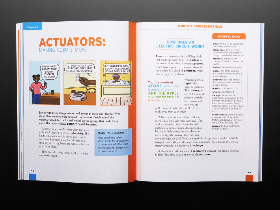 Two page guide on actuators and making robots move. Also a breakdown on how an electric current works.