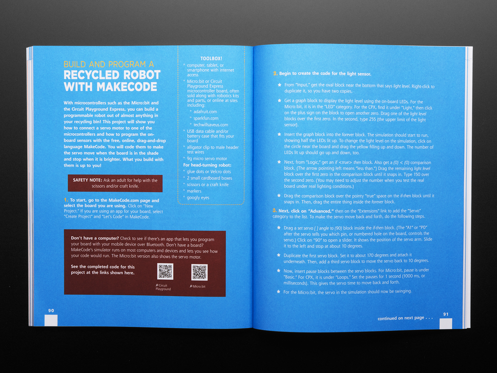 Two page guide on how to build and program a recycled robot with MakeCode.
