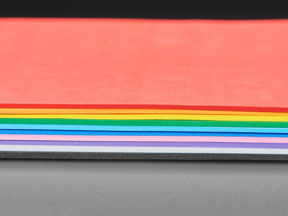 EVA Foam Pack in Rainbow Colors - 2mm thick - 10 sheets