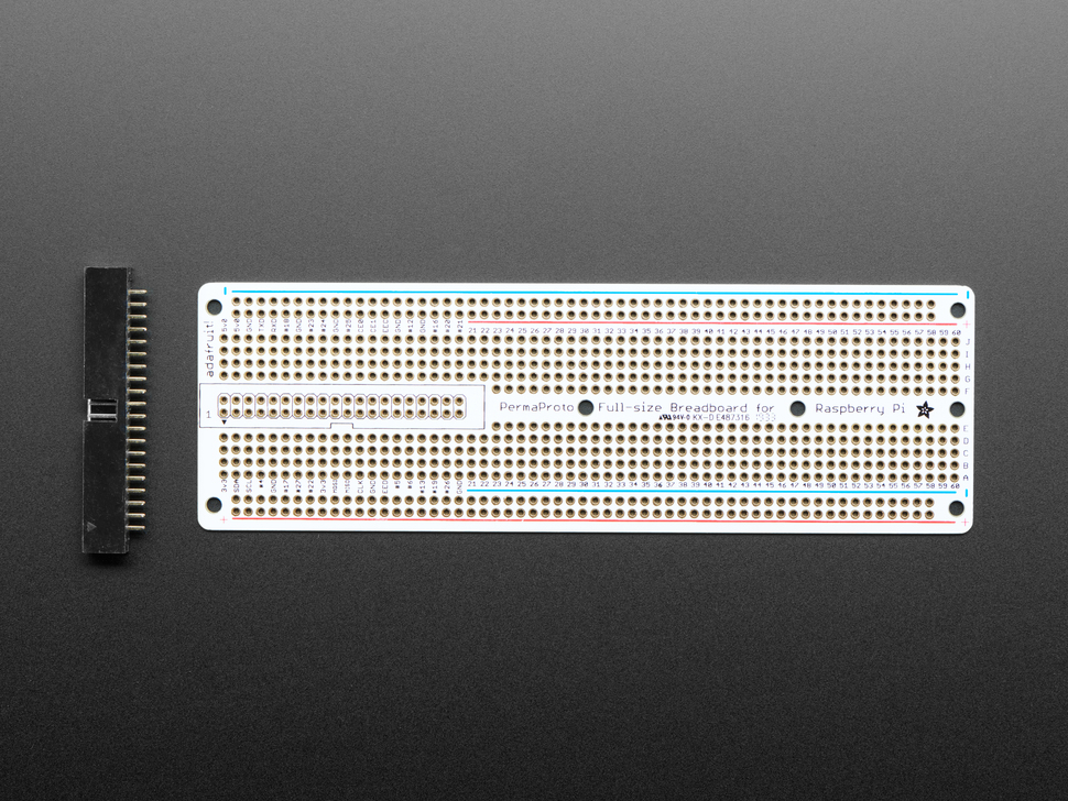 Top view of Adafruit Perma-Proto 40-Pin Raspberry Pi Breadboard PCB with box header.