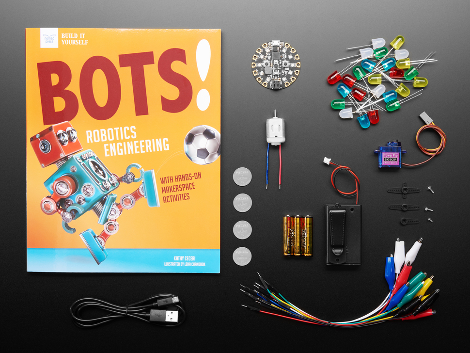 Bots! by Kathy Ceceri - Book and Parts Bundle showing many components, motors, LEDs, and more
