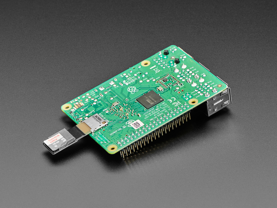 Micro SD Card PCB Extender plugged into upside down Raspberry Pi