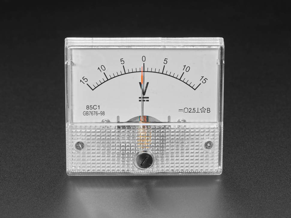 Small -15 to +15V DC Analog Panel Meter