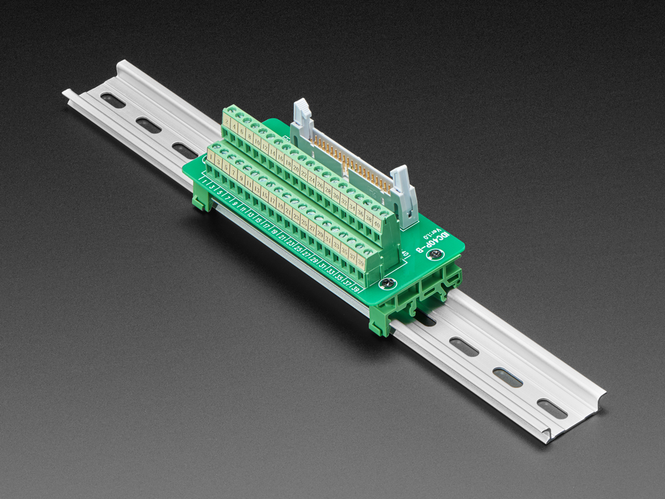 DIN Rail 2x20 IDC to Terminal Block Adapter Breakout mounted onto DIN rail