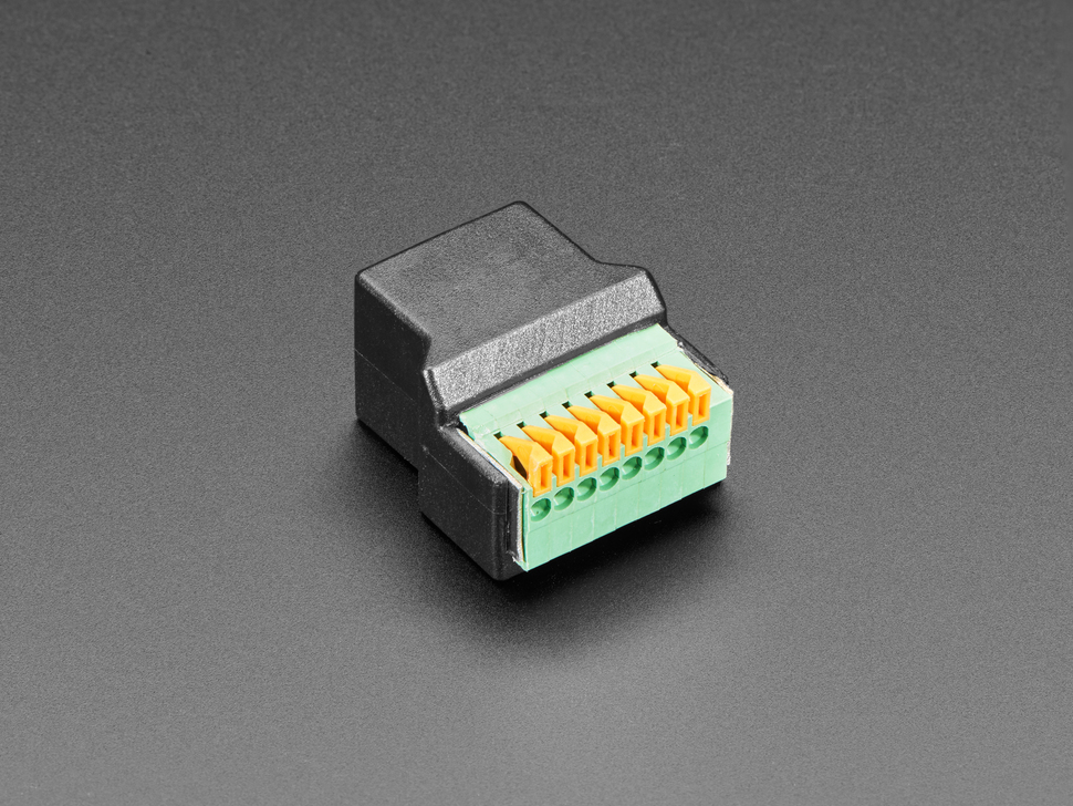 RJ-45 Ethernet Female Socket to Terminal Spring Block Adapter