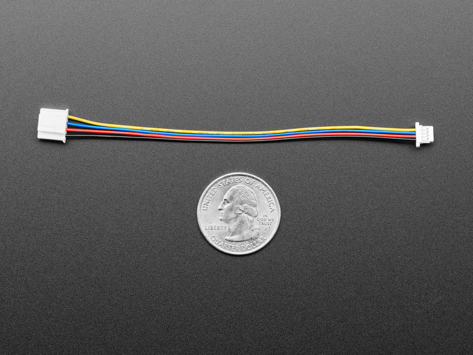 Grove to STEMMA QT / Qwiic / JST SH Cable measured by a US quarter