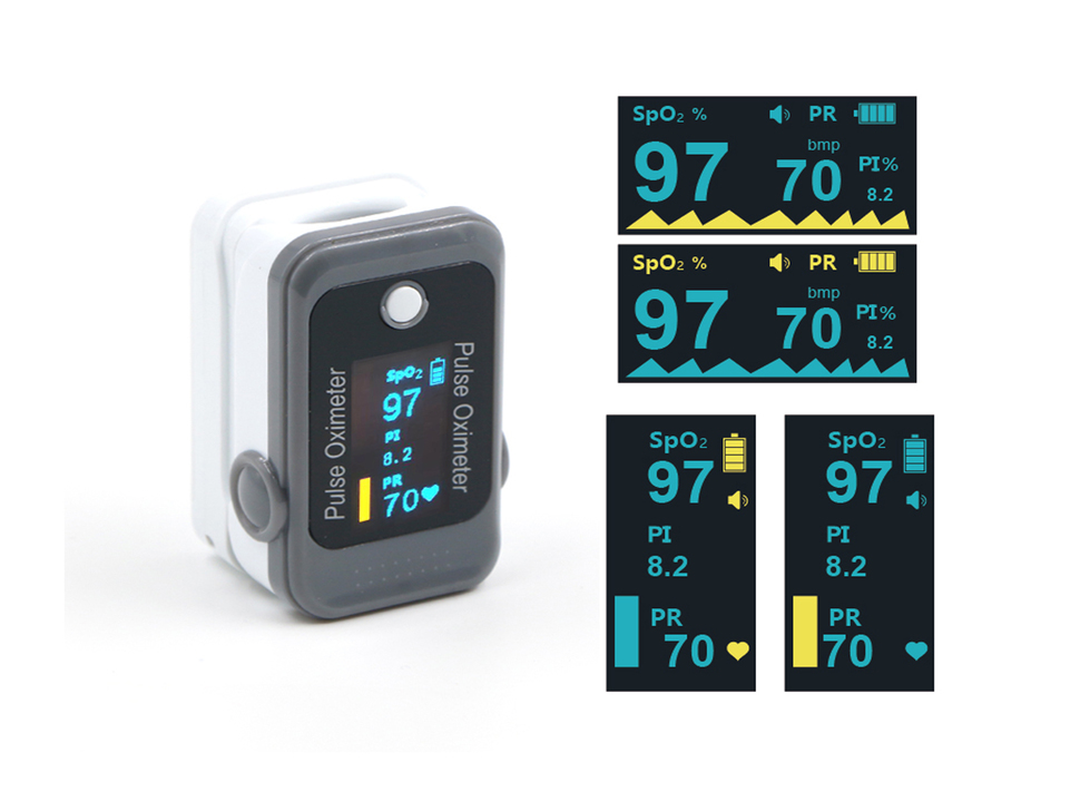 Grey and white pulse oximeter next to detail shots of the LCD display