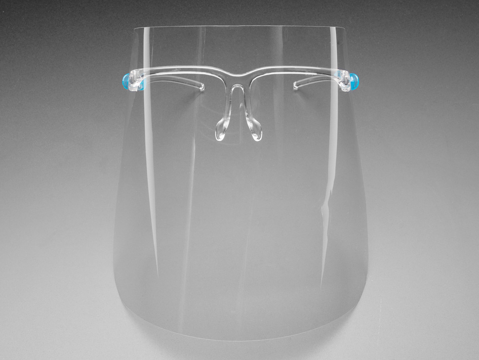 Plastic face shield with glasses style frames